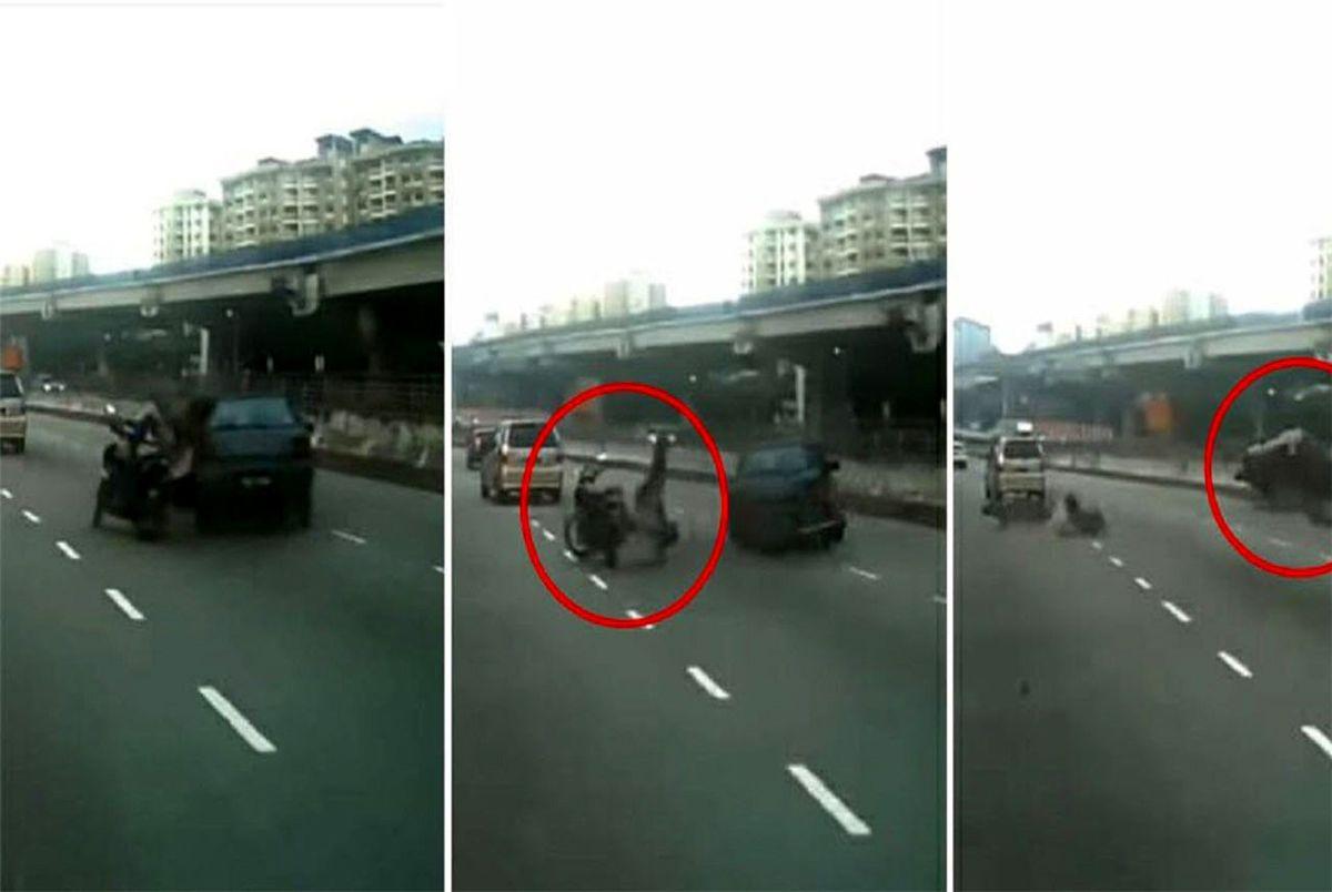 تصادف شدید موتورسوار در اتوبان + فیلم و عکس